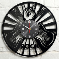 Free shipping 2019 new Cross border hot style guitar rock band Vinyl Vinyl decorative Wall Clock
