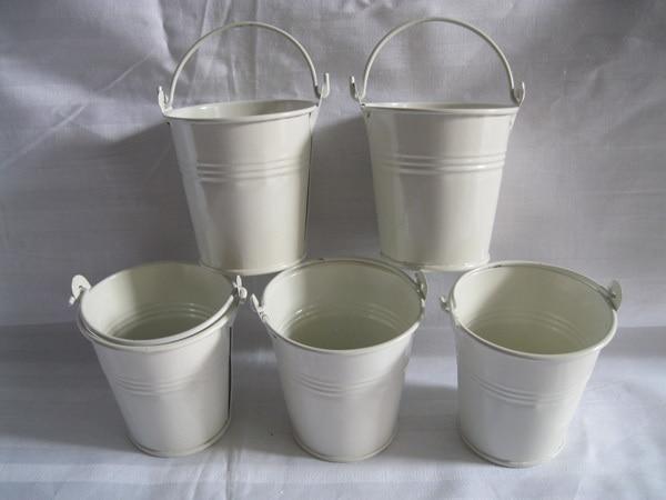 30Pcs/Lot cheap 7*7CM Flowerpots Planter garden bucket tin box Iron pots  metal seed buckets decorative White