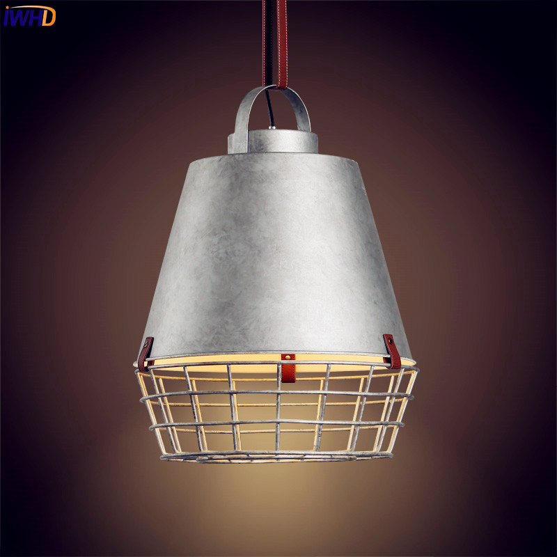 IWHD Iron Loft Style Vintage Pendant Lights Fixtures Dinning Room Retro Industrial Lamp Lighting LED Hanging Light Lampara new loft vintage iron pendant light industrial lighting glass guard design bar cafe restaurant cage pendant lamp hanging lights