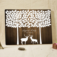 White Wedding Guest Book with Deer Canvas Fingerprint Tree Guest Book with Name&Date Personalized Signature Guest Book Party Dec