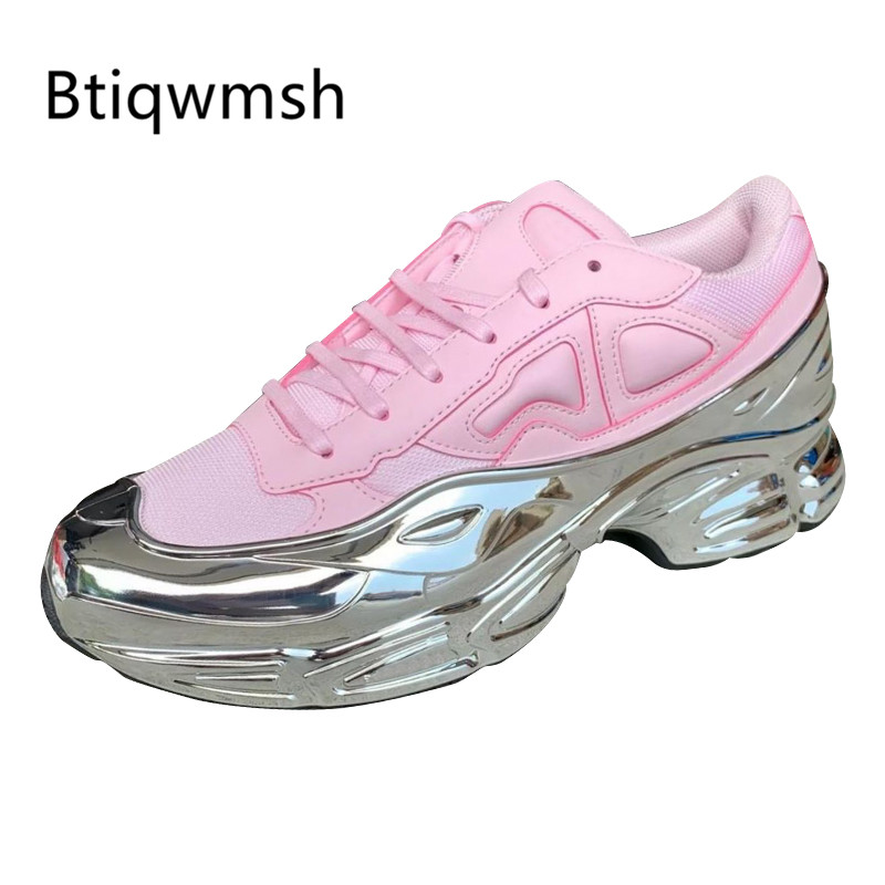 2019 Retro Pink Sneakers Women Pointed Toe Silver Mirror Thick Bottom Running Shoes Woman Fashion Loafer Shoes