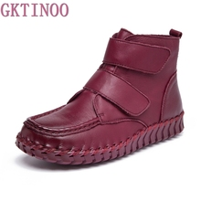 GKTINOO 2019 Handmade Sewing Fashion Side Zipper Genuine Leather Flat Ankle Women Boots Spring Autumn Shoes For Woman