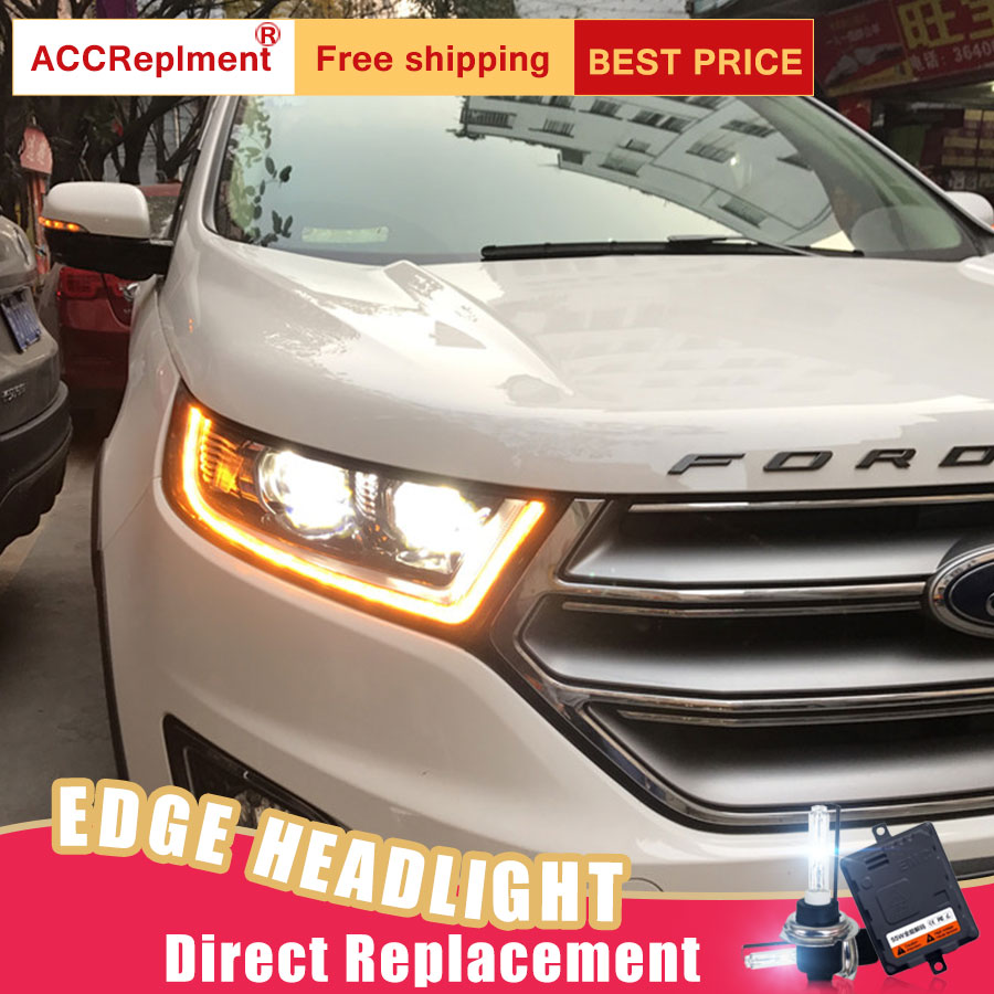 2Pcs LED Headlights For Ford Edge 2015 led car lights Angel eyes xenon HID KIT Fog