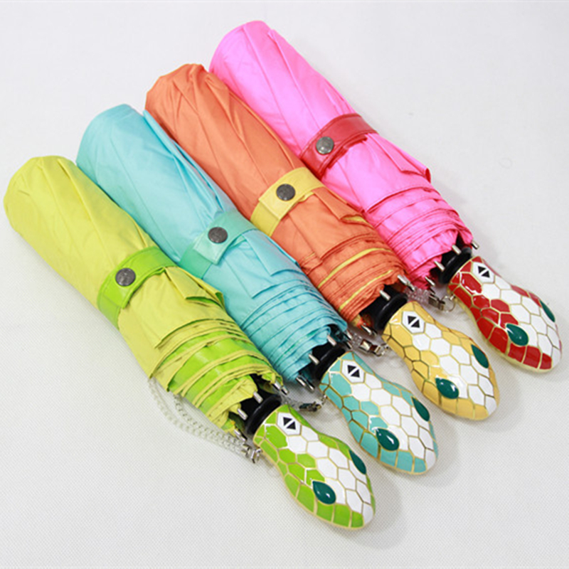 Click here to Buy Now!! Luxurious Full Automatic Women Fashion Creative  Folding Sunny Rainy Anti-UV Umbrella Parasol Snake Handle New Store  Promotion 9e6a502d09eb4