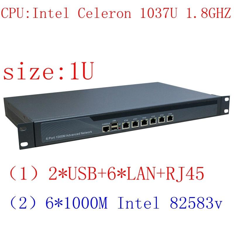 C1037u Mini pc 6 Lan serveur appareil, pare-feu appareil 1U rack mount serveur, pfsense pare-feu routeur Pfsense pour Internet cafe