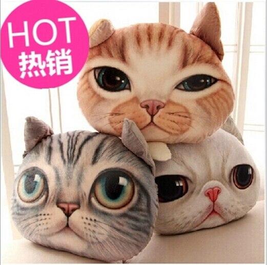 13 25 2015 Mode Creative Meow Etoiles Gens Oreiller 35 29 Cm Beau Chat Tete En Forme Oreiller Doux Coton 3d Chats Visage Coussin Dans Coussin De