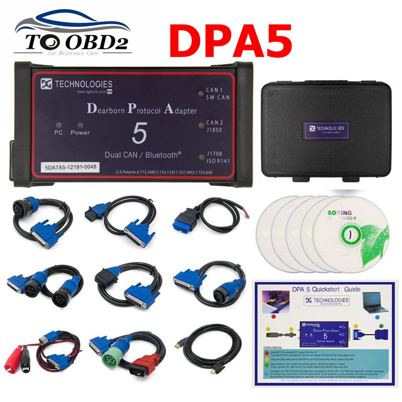 Without Bluetooth Dpa5 Dearborn Protocol Adapter 5 Heavy Duty Truck Scanner CNH DPA 5 Works For Multi-brands Multi-language
