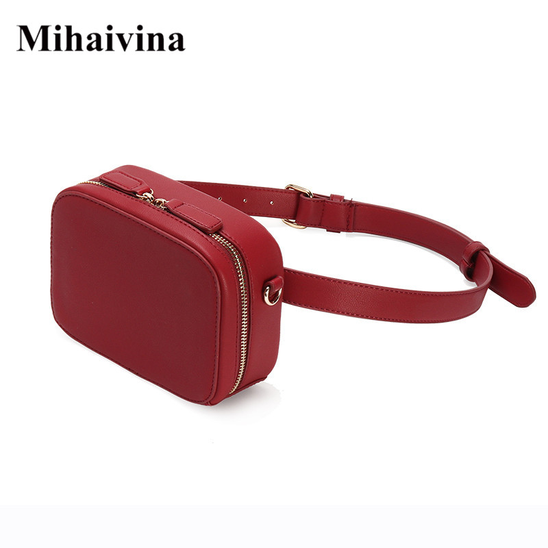 Mihaivina Luxury Women Waist Bag Fashion Waist Pack Belt Bags High-quality PU Leather Chest Bags Fanny Pack Handbag Phone Bag