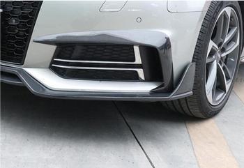 2PCS Auto In Fibra di Carbonio Anteriore Luce di Nebbia Della Lampada Lip Splitter Spoiler Paraurti Ali Battiti Per Audi A4 Sline S4 2017 2018 2019