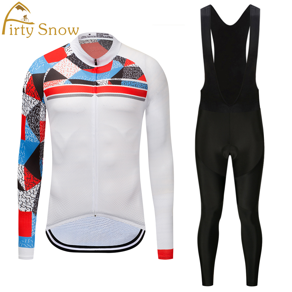 Firty Snow Team mens Cycling jersey Long Suspenders Riding Long Sleeve mtb Road bike Spring Straps Pants