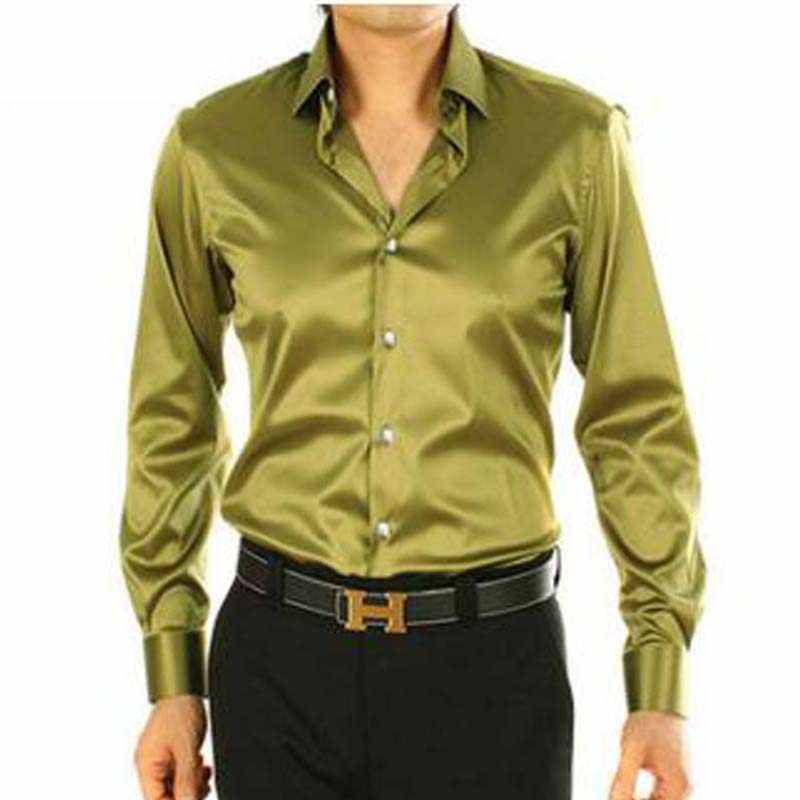 1087c3df54f 2017 Мода Army Green Мужские повседневные шелковые мужские рубашки  свободные мужчины осень длинные рукава тонкий Мягкое