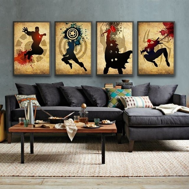 2016 Newest 4 Piece Wall Art Decor The Picture Modern Abstract Oil Painting On Canvas Movie Superman-in Painting u0026 Calligraphy from Home u0026 Garden on ... & 2016 Newest 4 Piece Wall Art Decor The Picture Modern Abstract Oil ...