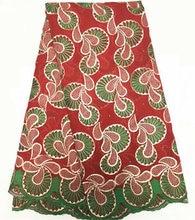(5 yardas/lot) bqc97! tela de encaje de algodón africano buena calidad, bonito bordado suizo para el vestido de fiesta!