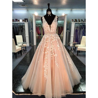 Champagne Lace Evening Dresses Long 2018 Robe De Soiree A Line V Neck Women Formal Prom Gowns Party Dress For Evenings