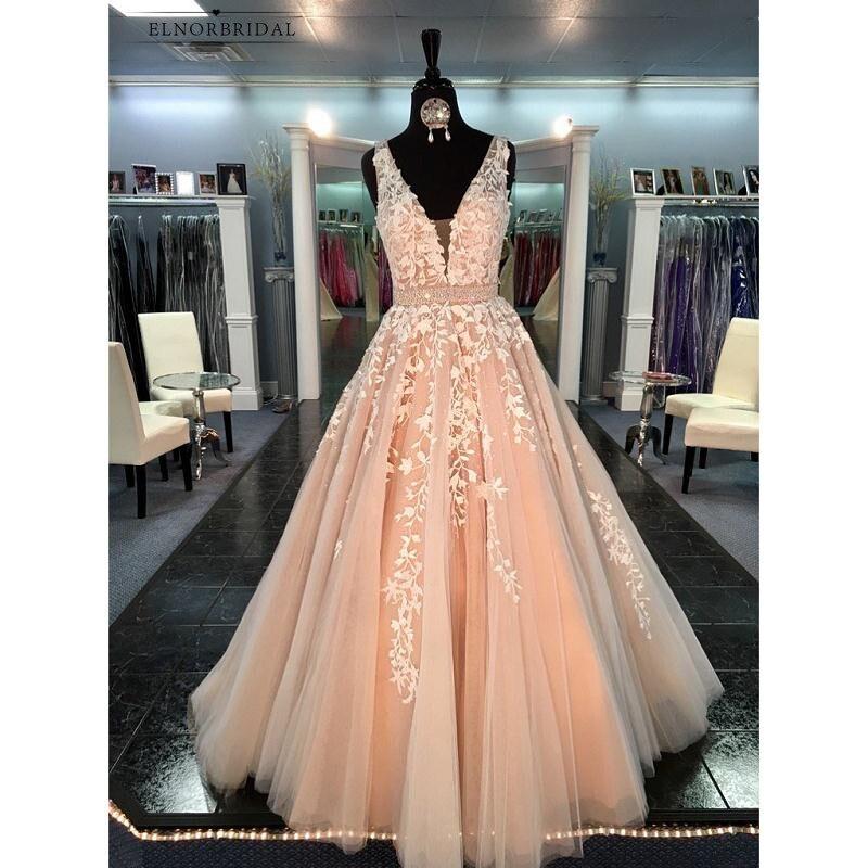 Champagne dentelle robes De soirée longue 2019 Robe De soirée une ligne col en V femmes formelle robes De bal Robe De soirée pour les soirées