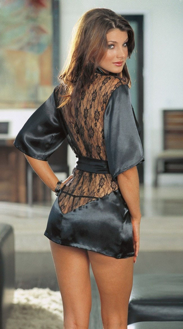 Hot Sale 4 Colors Satin Robes  Kimono Lace Sleepwear Plus Size