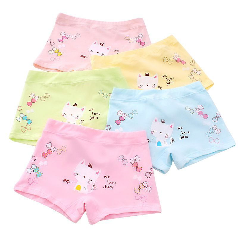 New 5Pcs Baby Panties For Girls Underpants Cotton Cute Breathable Soft Cartoon Animal Print Underwear Panties Training Briefs