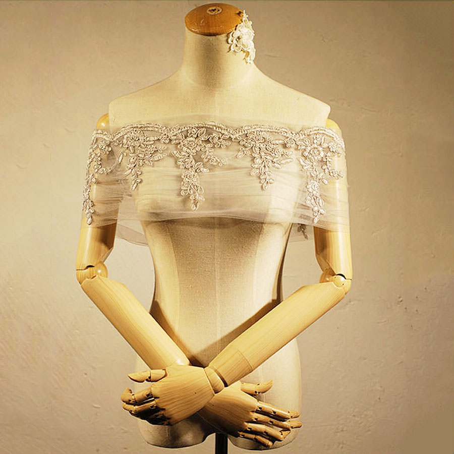 Wedding Jacket Off Shoulder Women Bolero White Tulle Cape For Brides Dress Putih Renda A30554 Lace Coat Femme Bridal Shawl Up In Jackets Wrap From