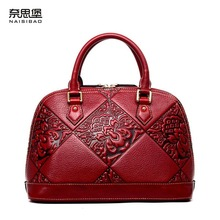 Famous model top of the range Cow Leather ladies bag  2016 new embossed shoulder Messenger Bag Chinese wind purse Shell bundle