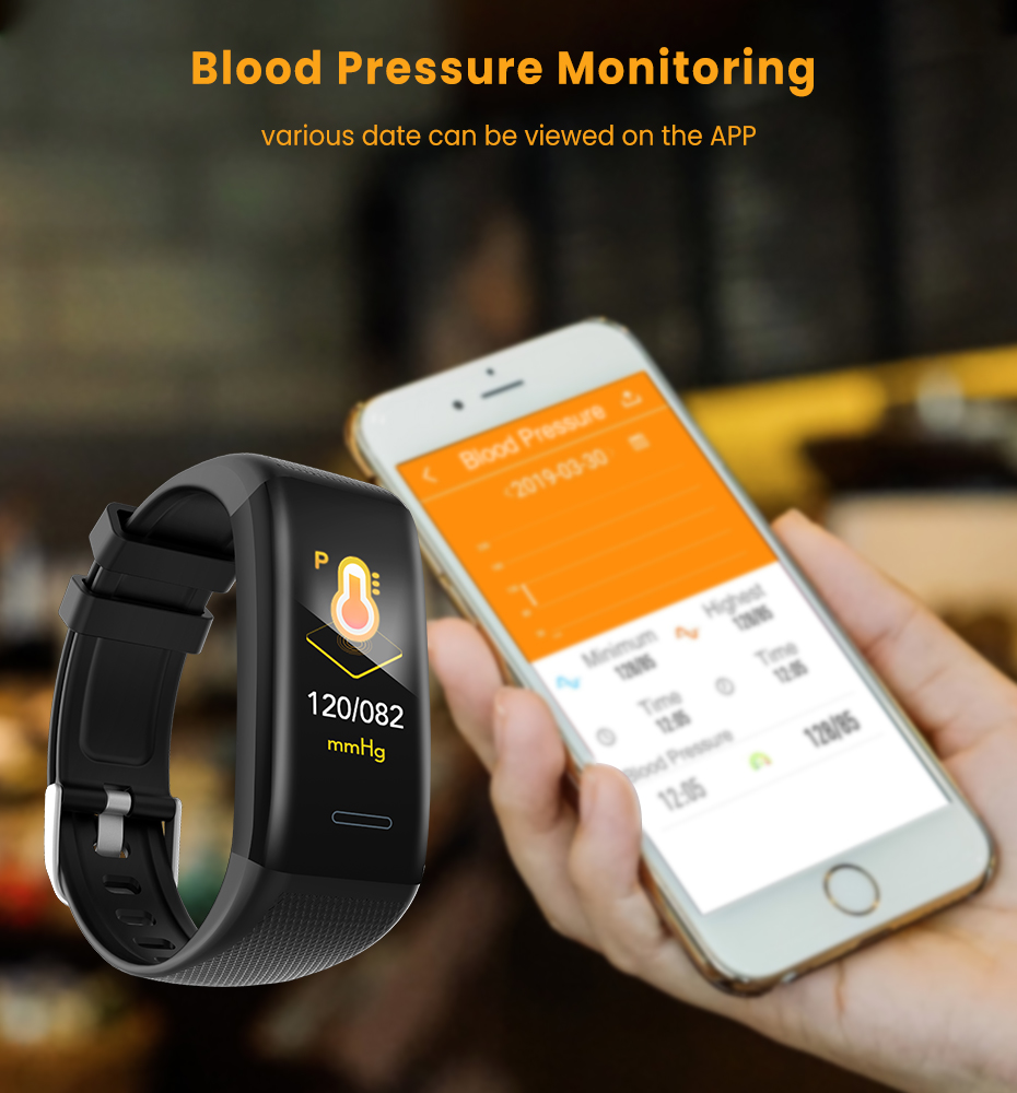 Men Women 1.14 IPS OLED Color Smart Wristbands Pedometer Sports Fitness Bracelet Blood Pressure Heart Rate Monitor Android IOS 5