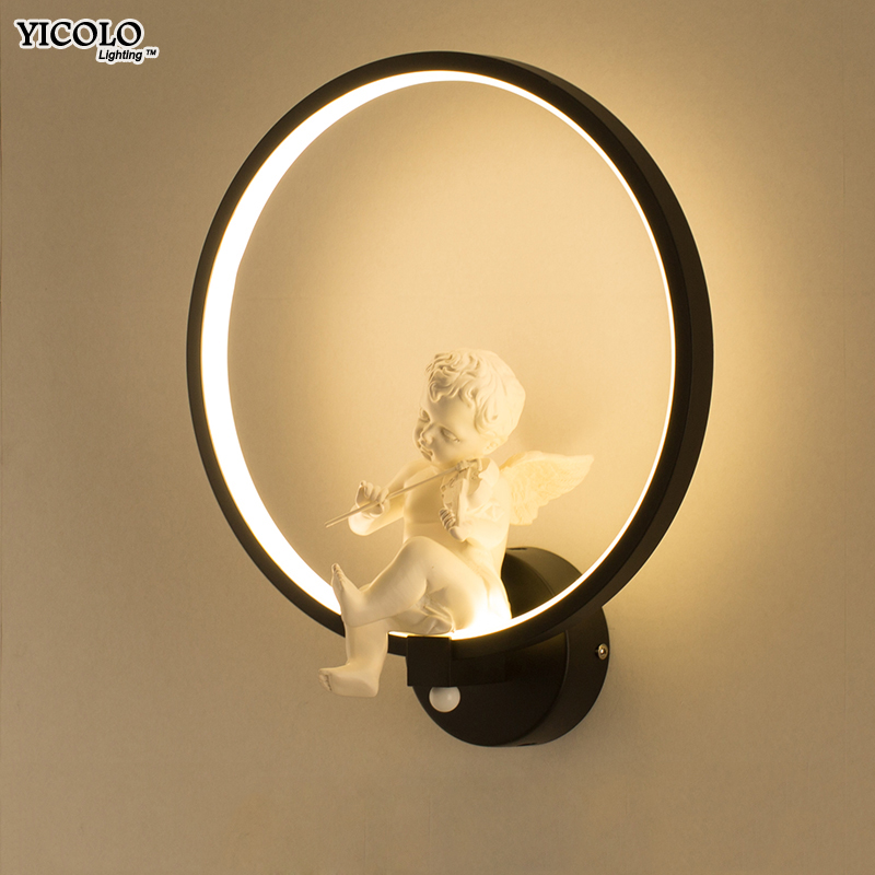 Angle with Violin LED Wall Lamps Bedroom Bedside Modern Simple Style Reading Lamp Living Room Foyer AC90-260V bracket Lighting