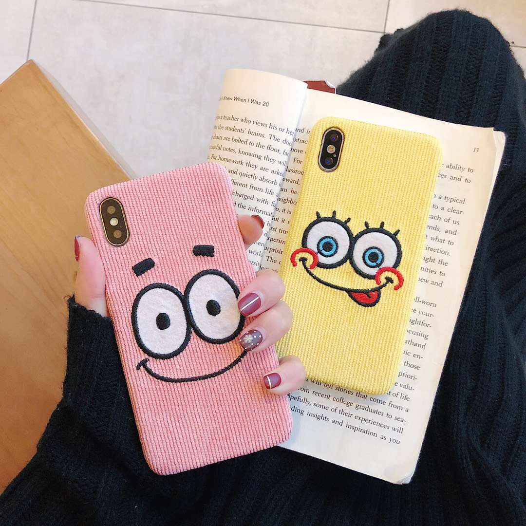 Cartoon SpongeBob Patrick Star Phone Cases For iPhone 6 6s 7 8plus X Xr Xs  Max Corduroy Embroidery Couple Hard Back Cover Capa
