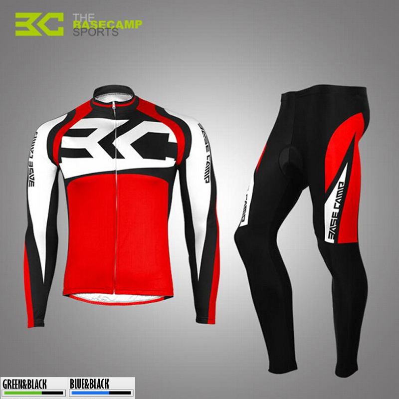 ФОТО BASECAMP Long Sleeve Cycling Jersey Men Women Thermal Fleece Spring Autumn Bicycle Bike Wear Cycling Suit Set Clothes H5072