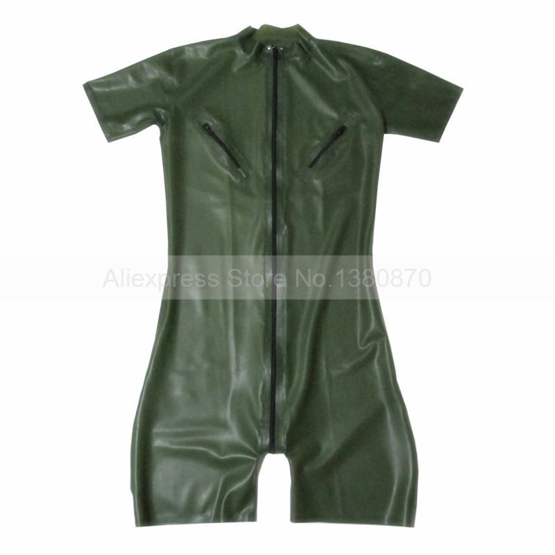 Army Green Men Latex Catcuit with Nipple Zips Rubber Short Legs Clothes Front Zip Custom Made