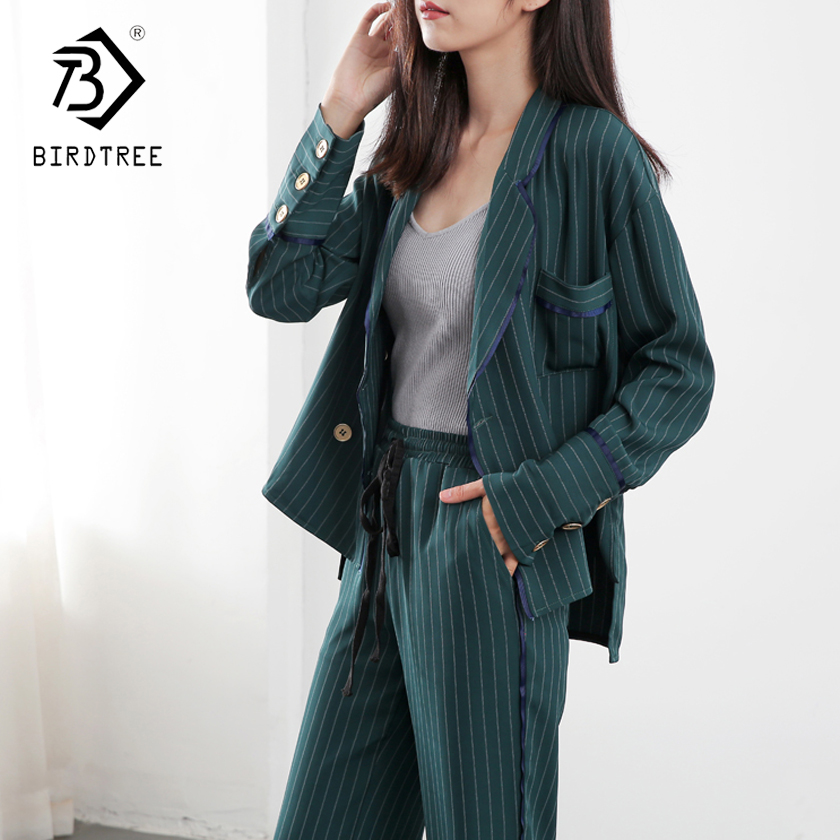 2018 Autumn Spring Sweat Fashion Pants Suits Women Blazer 2  Piece Set Striped Jacket & Pant Blazer OL Style Hot Sale S87306X