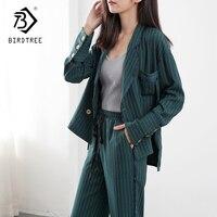 2018 Autumn Spring Sweat Fashion Pants Suits Women Blazer 2 Piece Set Striped Jacket & Pant Blazer OL Style Hot Sale S87306X