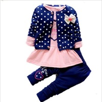 2018 New Fashion Kids Spring New Korean Wave Point Clothing Set Baby Girls Cute Cotton Clothes