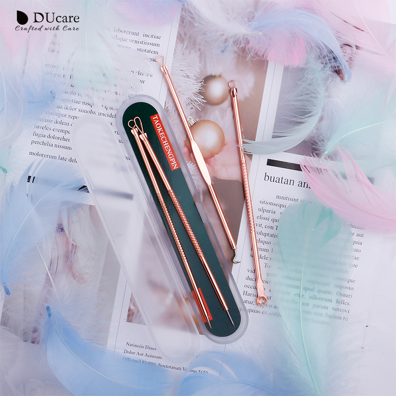 DUcare Makeup Tools 4PCS Acne Blackhead Removal Needles Gold Stainless Steel Pimple Spot Extractor Cleanser Face Clean Care Tool in Eye Shadow Applicator from Beauty Health