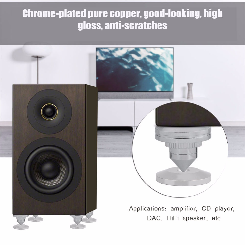 Speaker Stands CD Audio Subwoofer Amplifier Turntable Isolation Feet Cone Isolator Base Pads Shockproof Mats with Double-Sided Adhesive Speaker Spikes Black