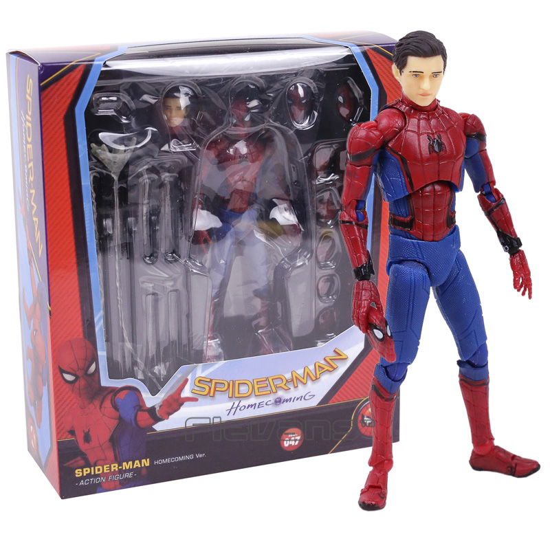 MAFEX047 Mafex Spider Man Peter Parker Homecoming Ver. PVC Action Figure Collectible Model Toy цены