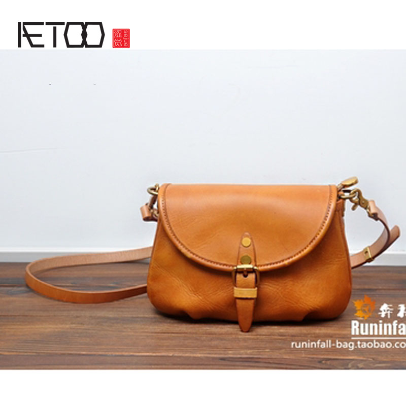 AETOO Personality retro to do the old saddle bag head layer cowhide tannage female shoulder small
