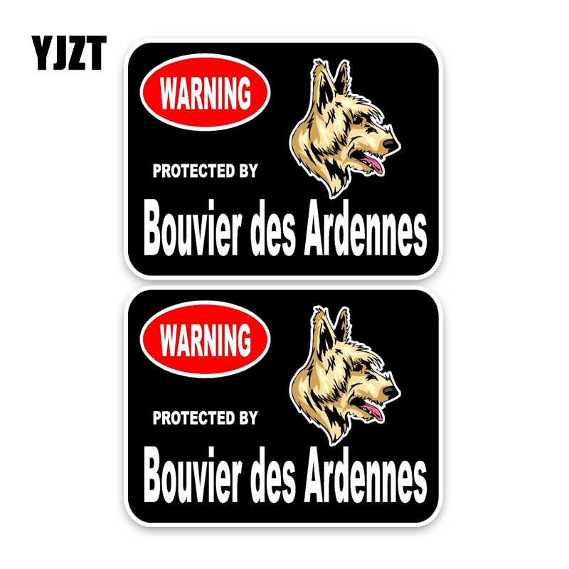 YJZT 15*11.4CM 2X Bouvier des Ardennes Guard Dog Car Bumper Window Waterproof PVC Sticker Decal C1-4637