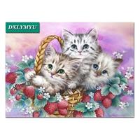Diy Diamond Painting Three Silly Cats Christmas Diamond Mosaic Decorations 5d Picture Diamond Embroidery Mural Needlework