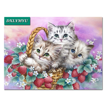 diy diamond painting Three silly cats Christmas diamond mosaic decorations 5d picture Diamond embroidery mural Needlework silly chemnitz