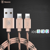 Baseus 2in1 Double 8pin USB Cable 1 2m Wire Cord For IPhone 6 6s Plus 5