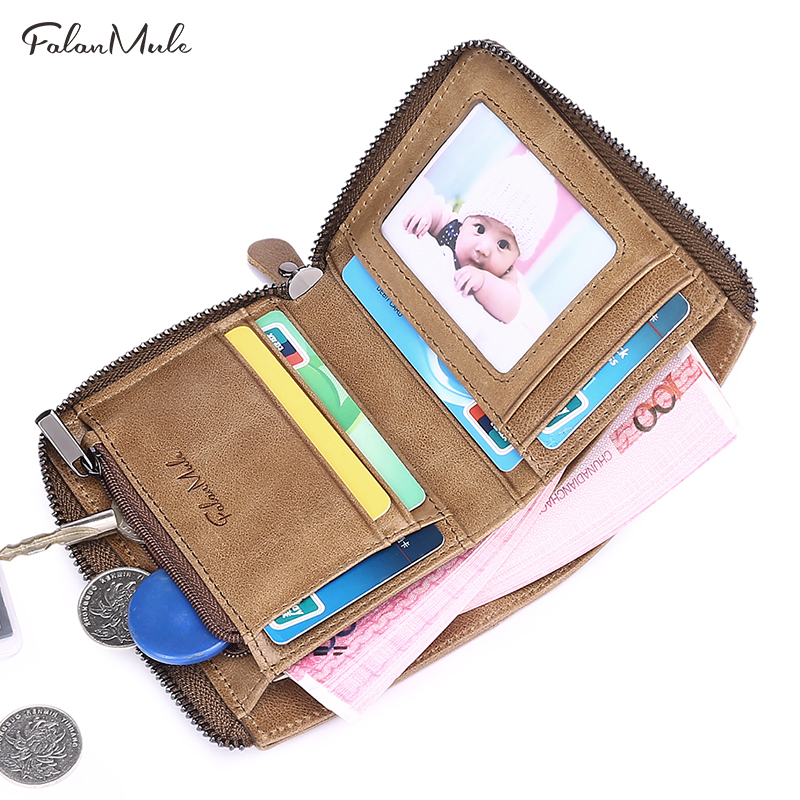 FALAN MULE 2018 New Small Coin Purse Short Men Wallets Genuine Leather Men Purse Bilfold Zipper Purse Fashion Men Leather Wallet 2017 new wallet small coin purse short men wallets genuine leather men purse wallet brand purse vintage men leather wallet page 2