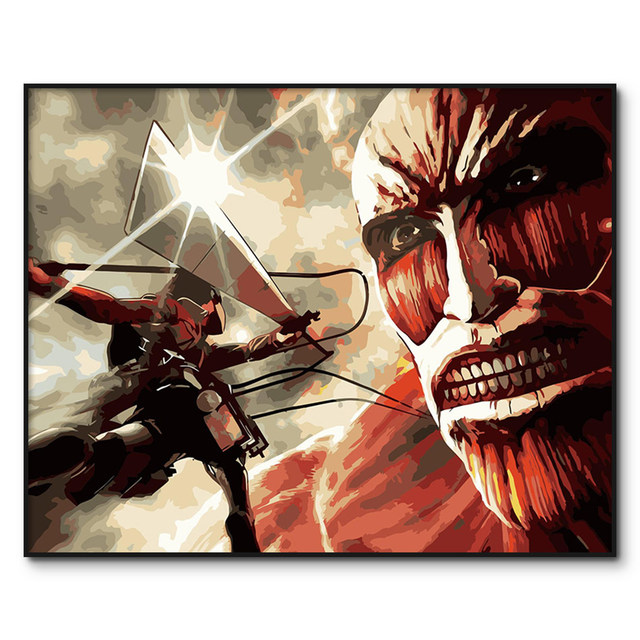 Advancing Titans painting by numbers Japanese anime actylic paint by number kits Framed picture oil painting by numbers