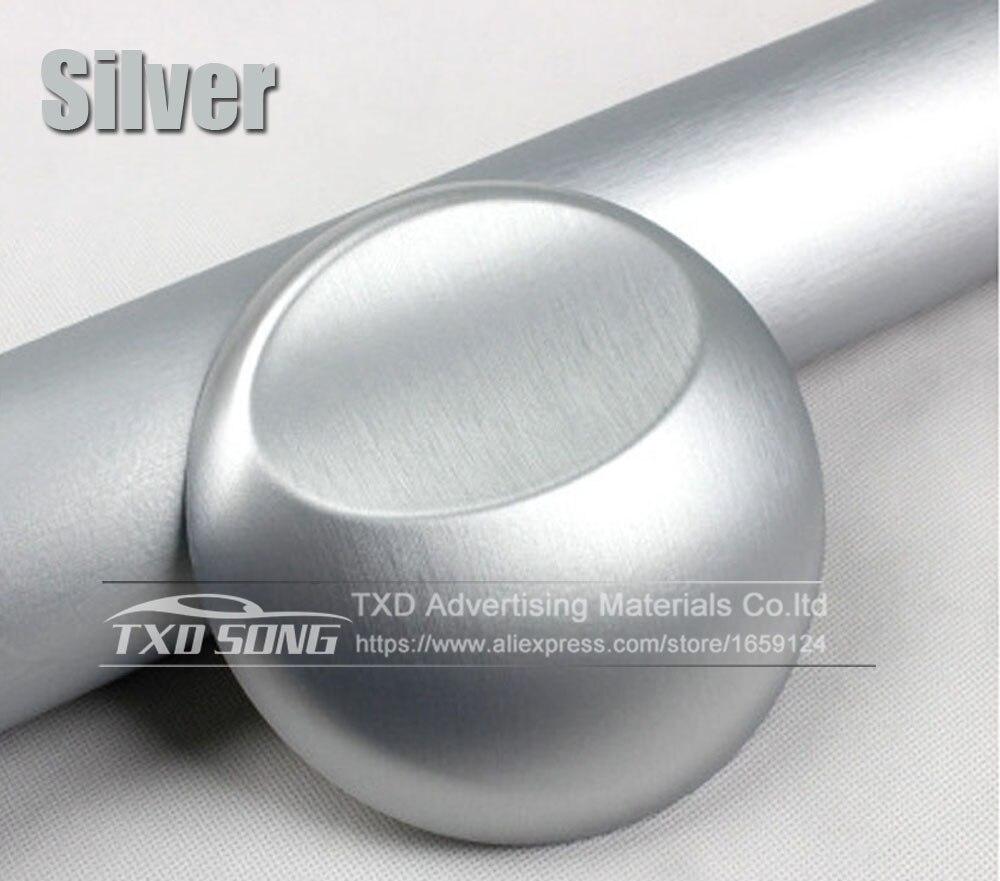 Хорошее качество, хромированная металлическая матовая алюминиевая виниловая металлическая виниловая пленка для отделки автомобиля, наклейка для стайлинга автомобиля, украшение из фольги - Название цвета: silver