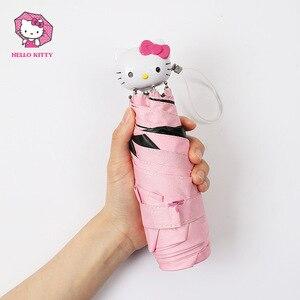 Image 4 - Hello Kitty Cartoon Mooie Meisje Womens Paraplu Pocket Mini Vouw Te Parasol Draagbare Vijf Opvouwbare Regenschirm Zonnescherm
