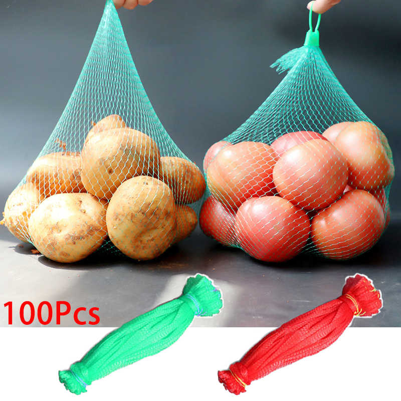 Reusable Grocery Produce Cotton Mesh Ecology Market String Net Shopping Tote Bag Kitchen Fruits Vegetables Hanging Bag 7A0304