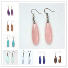 Trendy-beads Ethnic Silver Plated Many Color Quartz Section Long Water Drop Stone Earrings For Anniversary Jewelry