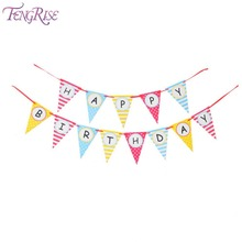 FENGRISE Happy 1st Birthday Party Pennant Flags Baby Boy Girl 100 Days Celebration Paper Garland Decoration Kids Themes Supplies