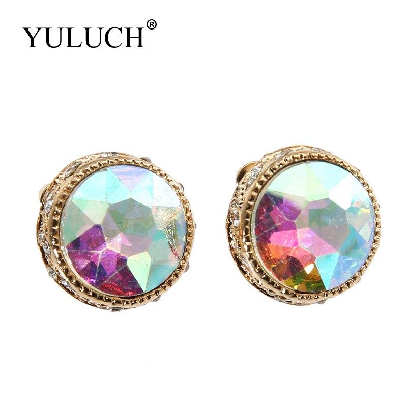 Yuluch fecho de orelha de cristal de metal, fecho para mulheres, novo estilo, atacado, joia de pedra redonda, 2018 brincos traseiros
