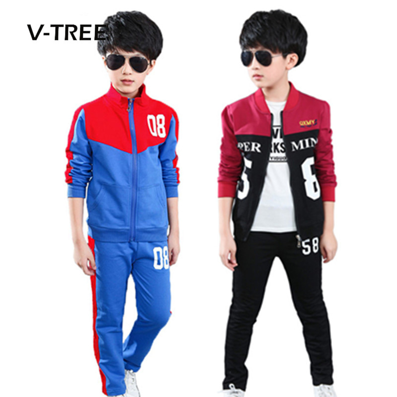 V-TREE Boys Clothing Sets Autumn Winter Kids Teenage Boys Sports Suit School Uniform Children Zipper Jacket Pants Suit Sets
