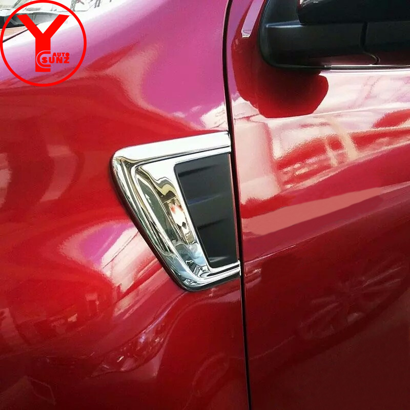 chrome side wind cover For Toyota Fortuner AN160 HILUX SW4 2015 2016 2017 vent side wind cover bonnet hood trim protector YCSUNZ