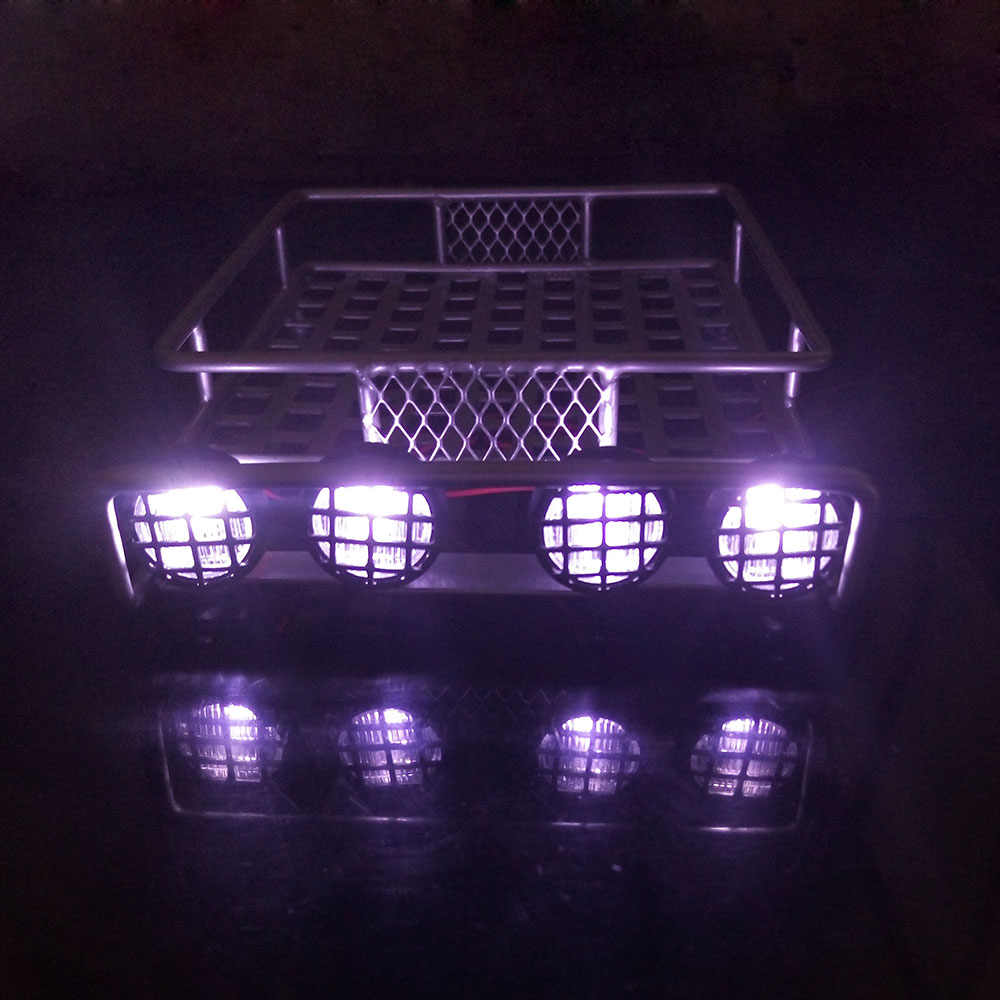 Simulation Climbing Car 1/10 Model Car Roof Car Shell Metal Luggage Rack With Lamp Cover Mesh Top Row Light Roof Racks White LED